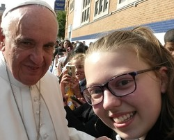 Pope Francis with Julia Hoffman-Douglas